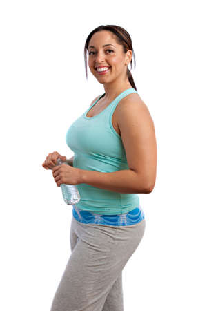 body curve: Plus Size Fitness Female Model Holding Water Bottle Isolated on White Background