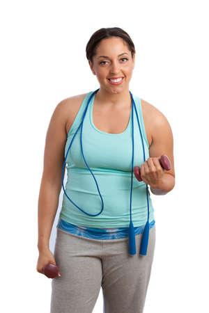 Plus Size Fitness Female Model Holding Weights Isolated on White Background photo