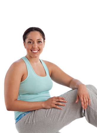 Healthy Looking Happy Plus Size Young Female Ready Workout photo