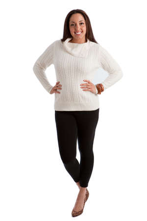 to size: Cheerful Plus Size Fashion Model Standing on white background
