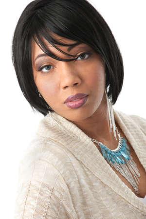 mannequin africain: Belle Jeune Afrique T�te am�ricaine Femme avec Expression Sourire Banque d'images