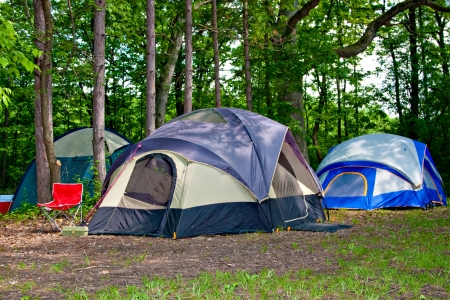 Camping Tents at Campground during Daytime in Woods Stock Photo - 10686261