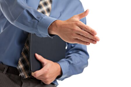Handshake gesture from Businessman with blue shirt and tie isolated photo