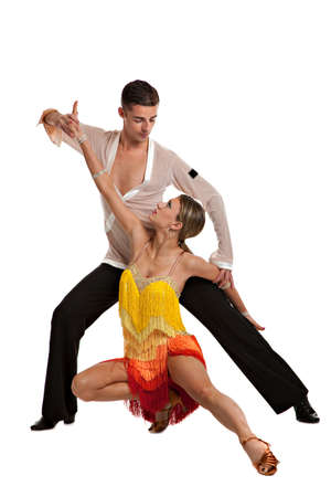 Ballroom Dancer Pair Latin Dance Isolated on White Background photo
