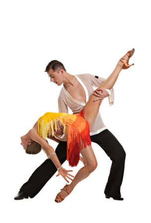 Ballroom Dancer Pair Latin Dance Isolated on White Background Stock Photo