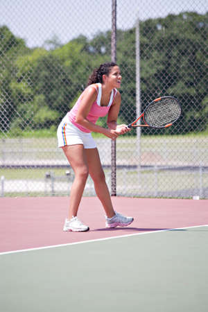 Youn female tennis player ourdoor playing Stock Photo - 10686233