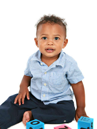 Adorable One Year Old African American Boy Playing Toy photo