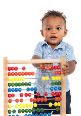 Adorable One Year Old African American Boy Playing Wooden Abacus Isolated photo