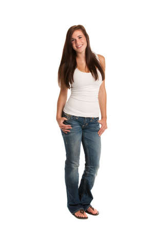 Happy Casual Dressed Young Female Highschool Student Isolated on White Background Stock Photo - 10686172
