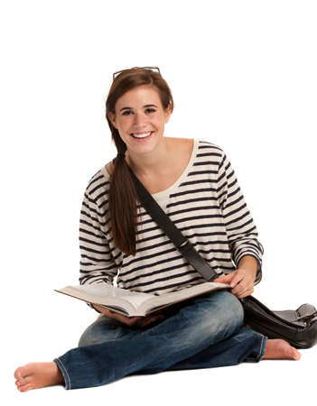 Casual Dressed High School Student Smiling on Isolated Background Stock Photo - 10686142