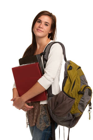 Casual Dressed High School Student Smiling on Isolated Background photo