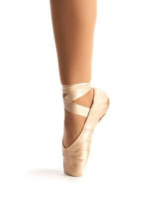 zapatillas ballet: Antiguo Pointe Ballet del primer zapato en el fondo blanco