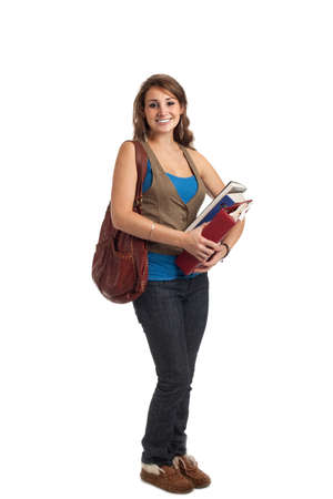Happy Casual Dressed Young Female College Student Isolated on White Background Stock Photo - 10686140