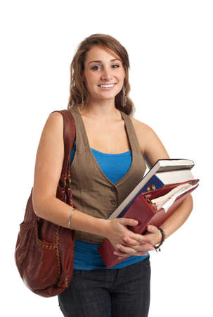 Happy Casual Dressed Young Female College Student Isolated on White Background photo