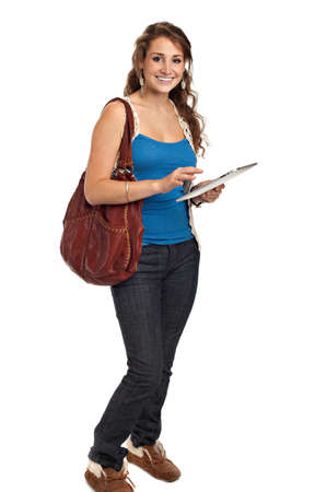 university text: Smiling College Student Tap on Tablet PC Isolated on White Background