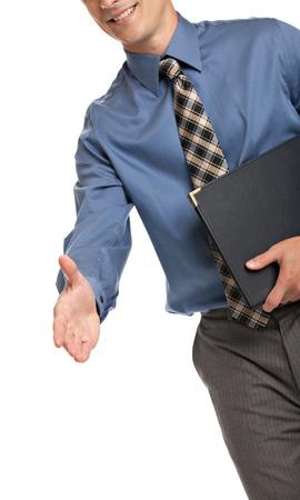 Handshake gebaar van Zakenman met blauw overhemd en stropdas geïsoleerd