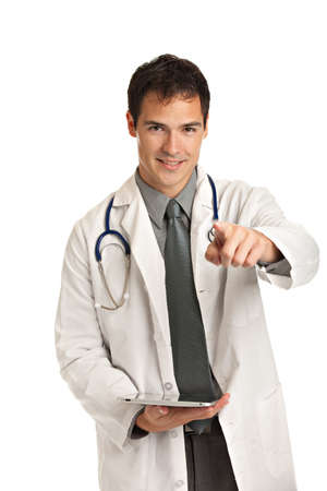 Friendly Young Doctor Holding a Touch Pad Tablet PC on Isolated White Background photo