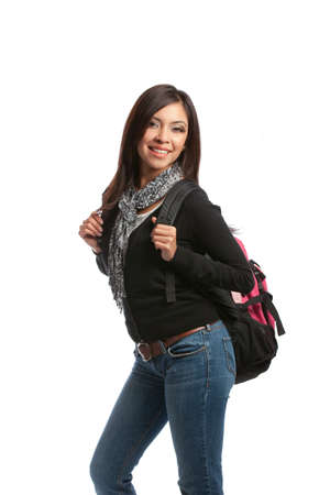 Casual Dressed High School Student Holding Backpack Smiling on Isolated Background Stock Photo - 10686189