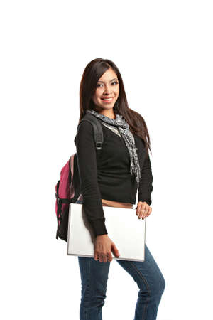 Casual Dressed High School Student Holding Laptop Smiling on Isolated Background Stock Photo - 10686231