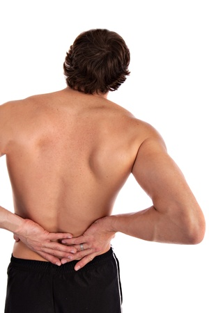 back ache: Young Man Holding Back Hurting on Isolated Background