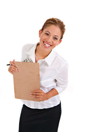 Business Woman Holding Binder Isolated on White Background Stock Photo - 10764214