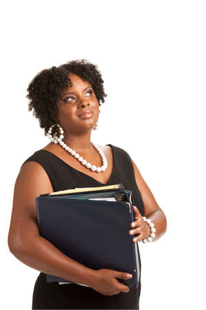Plus Size Businesswoman Holding Binders Dream Expression Standing Isolated on White Background Stock Photo - 10764293