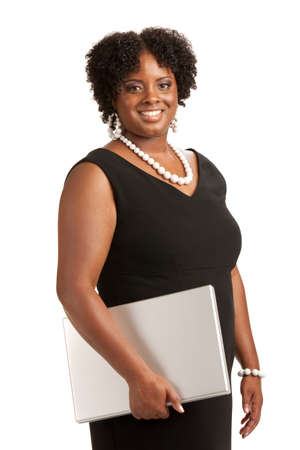 Cheerful Plus Size Businesswoman Holding Laptop Computer Standing Isolated on White Background Stock Photo - 10764221