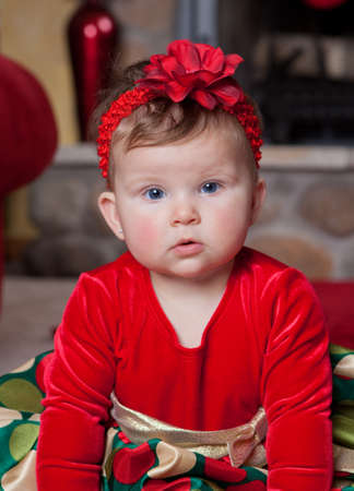 Adorable Cute Infant Baby in Christmas Costume Stock Photo - 10764312