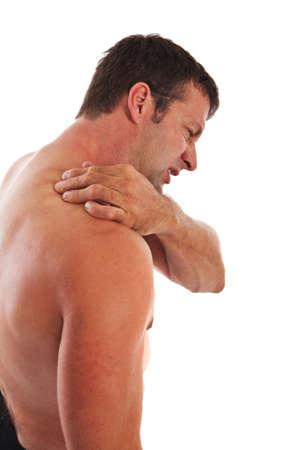 Painful Mid-age Man Holding Neck on Isolated Background photo