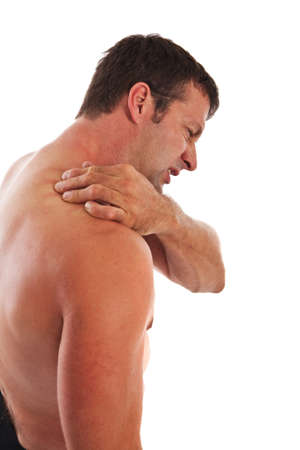 muscle tension: Painful Mid-age Man Holding Neck on Isolated Background