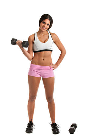 Healthy Looking Young  Female Lifting Weight on Isolated Background photo