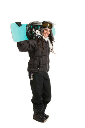 Happy Young Female Snowboarder on Isolated White Background Stock Photo - 10859281
