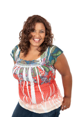 large woman: Cheerful Young African American Woman Portrait on White Background Stock Photo