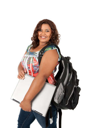 overweight students: African American Female Student Standing Holding Bookon Isolated White Background Stock Photo