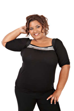 plus size woman: Cheerful Young African American Woman Portrait on White Background Isolated