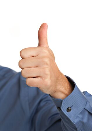 Smiling Businessman Pointing Finger on Isolated Background Imagens