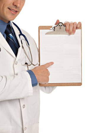 Friendly Young Doctor Holding and Pointing to Notepad on Isolated White Background Imagens