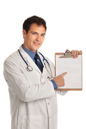 young doctor: Friendly Young Doctor Holding and Pointing to Notepad on Isolated White Background Stock Photo
