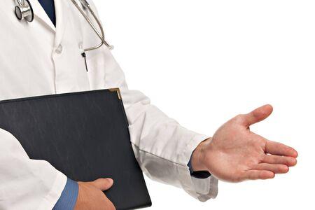 Handshake guesture van Doctor Stockfoto