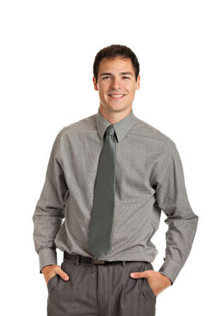 businessman standing: Young Businessman Standing Smiling on Isolate White Background Stock Photo