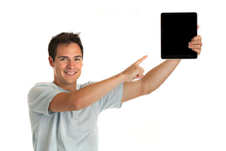 tablet pc in hand: Laughing Casual Young Man Holding a Touch Pad Tablet PC on Isolated White Background
