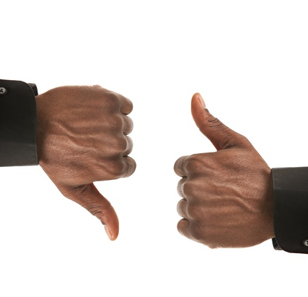thumb's up: Black Businessman Hands Gesture Up Down Isolated on White Background