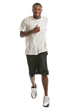 Young African American Runner Indoor Isolated on White Bakcground