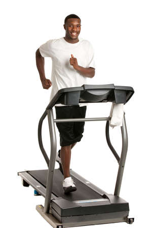 african and american: Healthy Young African American Running in Treadmill Isolated on White Background Stock Photo