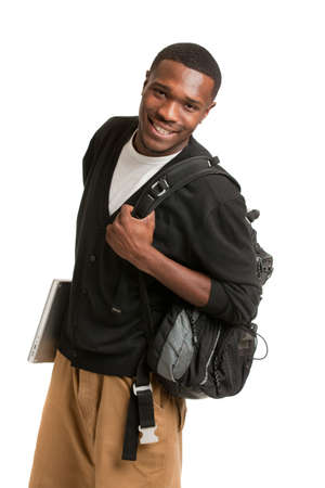 male student: Happy African American College Student Holding Laptop on Isolated White Background Stock Photo