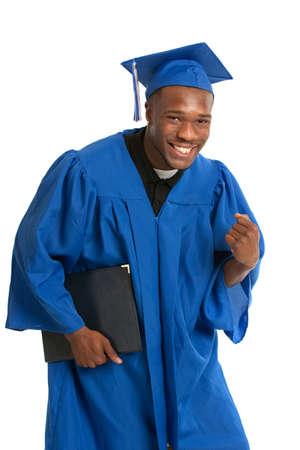 absolwent: Młoda szczęśliwa African American Male Holding, Student Graduation Certyfikat Ekscytująca Expression
