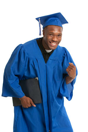 african student: Young Happy African American Male Student Holding Graduation Certificate Exciting Expression