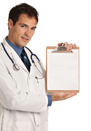 doctor holding gift: Friendly Young Doctor Holding and Pointing to Notepad on Isolated White Background Stock Photo