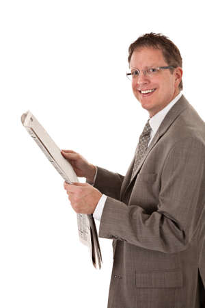Happy Looking Businessman Reading Newspaper on Isolated White Background photo
