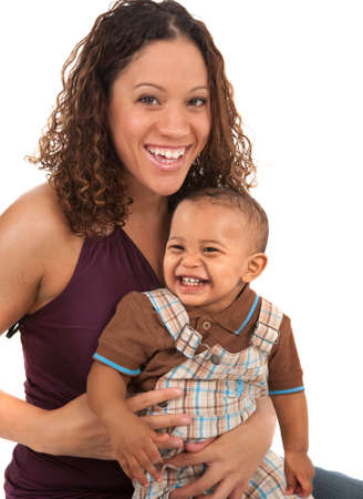 african american infant: Happy Smiling Mother and Baby Boy on White Background Stock Photo